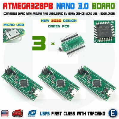 3pcs Nano V3.0 Atmega328p Compatible Board Atmega328 For Arduino Micro Usb Usa