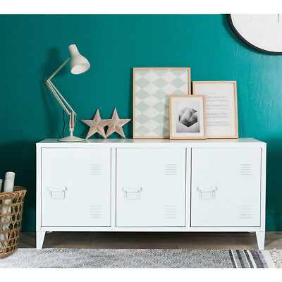 File Storage Metal Cabinet 3 Door Cupboard Locker Organizer Console Stand White for sale  Shipping to Ireland