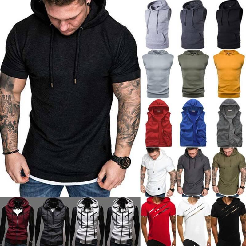 Men Summer Short Sleeve/Sleeveless Hoodie T Shirt Gym Vest Zip Sports Coat Tops Activewear