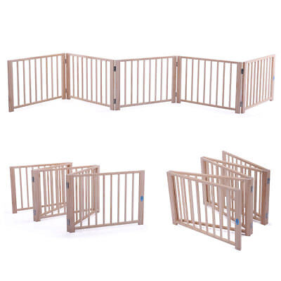 """Wooden 5 Panel Pet Dog 17.5"""" Free Standing Folding Solid Wood Playpen Gate"""