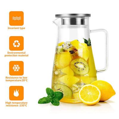 1,8L Glas Wasserkaraffe Wasserkrug Kühlkaraffe Glaskaraffe mit Edelstahl Filter