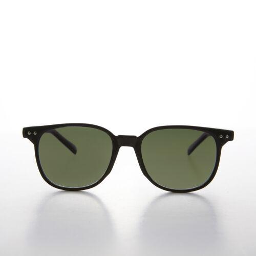Square Vintage Sunglass Classic Horn Rim Black Frame Green Lens - Sherman