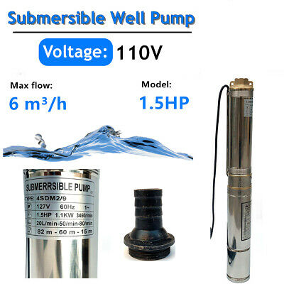 4 Deep Well Stainless Steel Submersible Pump 1.5hp110v 22gpm256ft Max Head