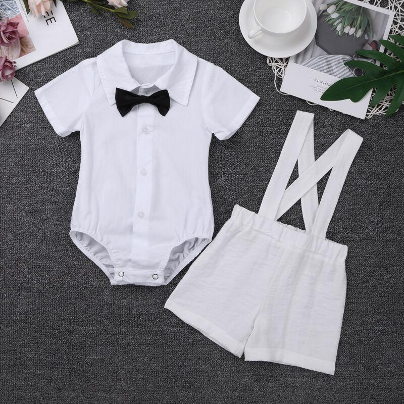 Infant Baby Boys Baptism Outfits Romper Christening Formal Suit Bodysuit Clothes
