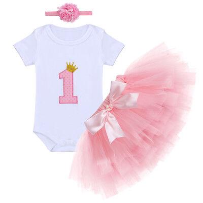 Baby Mädchen 1. Geburtstag Strampler Stirnband Rosa Tutu Rock Outfit Partykleid