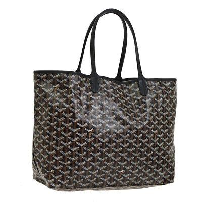 GOYARD SAINT LOUIS PM Hand Tote Bag Black PVC Leather France VTG AK31954b