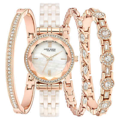 Anne Klein NY 12/2316BHST Rose gold W/Crystals Ceramic Women's Watch Set - New!