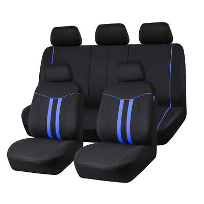 Blue Universal Full Set Car Seat Covers Airbag Compatible Washable Rear 3...