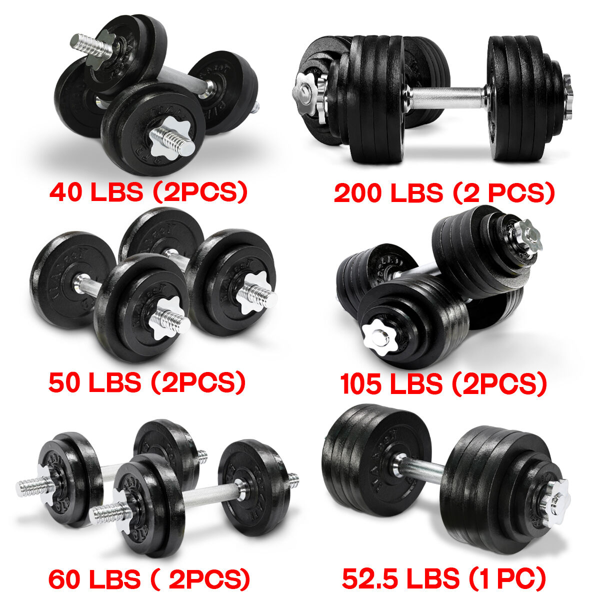 Adjustable 200 Lb Dumbbells: Dumbbells Set Weight Cap Fitness Gym Barbell New 40 50 52