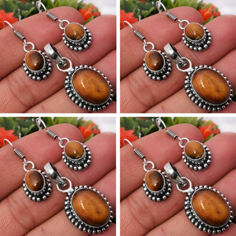 Tiger Eye 2pcs 925 Sterling Silver Plated Pendant Earring Sets Jewelry
