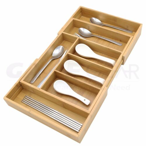 Bamboo Drawer Organizer Kitchen Cutlery Tray Expandable Utensil Flatware Storage
