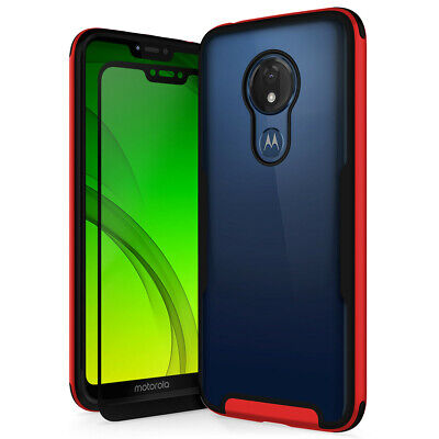 Shockproof Transparent Hard Case+Tempered Glass for Moto G7 Power / Supra XT1955