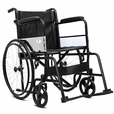 "24"" Folding Wheelchair Medical Transport Foldable Backrest F"