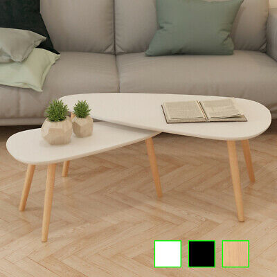 vidaXL Solid Wooden Coffee Table Set 2 Piece Side Couch Sofa Multi Colors ()