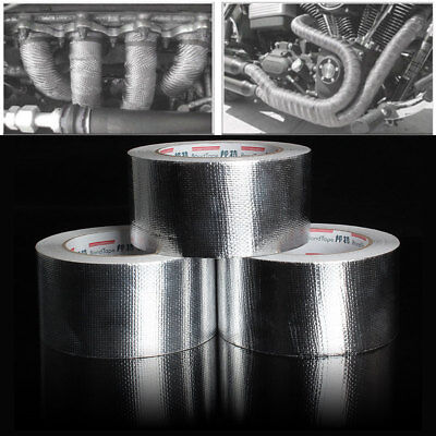 25M*5cm Exhaust Heat Wrap Manifold Downpipe High Temp Bandage Tape Silver