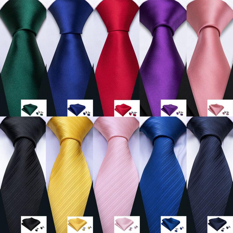 Classic Silk Mens Ties Solid Plain Red Blue Black Pink Gold Men Tie Necktie Set