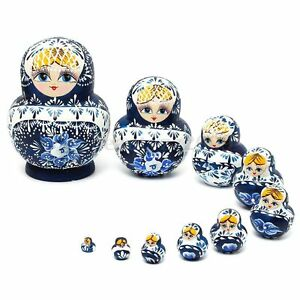 Russian Nesting Dolls 10pcs Set Blue Hand Painted Tiny Matryoshka Babushka New