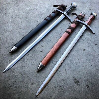 "23"" King Arthur Fantasy Excalibur Crusader Medieval Sword Historical Blade Knife"