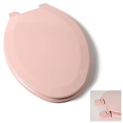 Deluxe Venetian Pink Elongated Wood Toilet Seat, Adjustable Hinges Bath