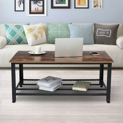 "42""x24'' Industrial Wood Coffee Table Accent Storage Shelf Furniture Living Room"