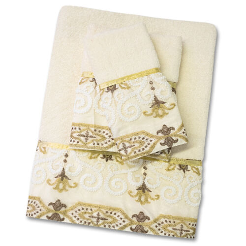 Popular Bath Savoy Bathroom 3 Piece Towel Set- Gold/Ivory Bath