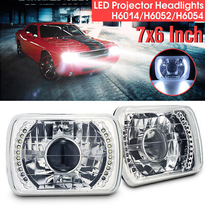 2Pcs 7x6'' H6014 LED Diamond Ring Projector Headlight Conversion Kit H6052/H6054