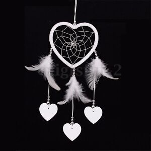 Dream Catcher With Feather Small Heart Wall Hanging Home Car Decor White Gifts