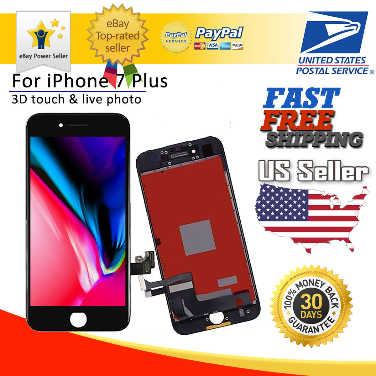 info for e4497 5a984 Details about Black LCD Display Touch Screen Display Replacement 3D Touch  For iPhone 7 Plus US