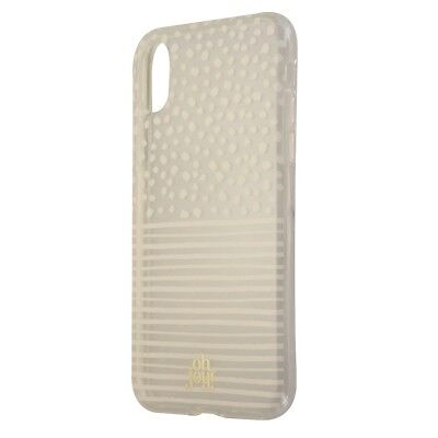 Oh Joy Snap On Protective Case Cover for iPhone X 10 - Clear White Dots/Stripes Dots Cover Case Snap