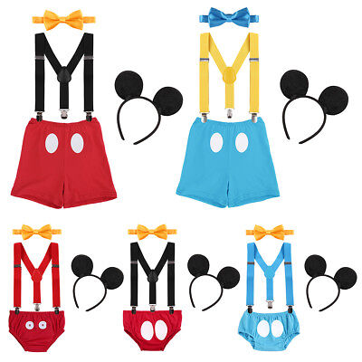 Suspenders Cake Smash Pants Outfits Clothes Birthday Mickey Mouse For Baby Boys - Mickey Mouse Outfits For Boys