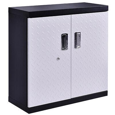 Garage Steel Wall Mount Cabinet Metal Storage Box Organizer 2 Shelves Tool