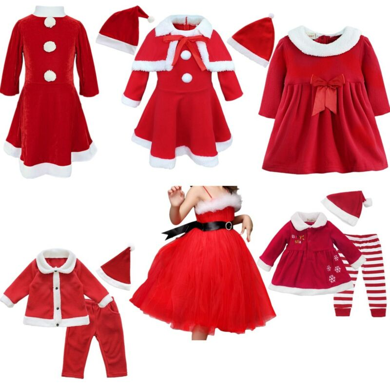 US Christmas Clothes Dress Toddler Boys Girls Santa Costume
