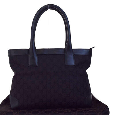 Authentic GUCCI GG Pattern Shoulder Tote Bag Canvas Leather Black Italy 01BA018