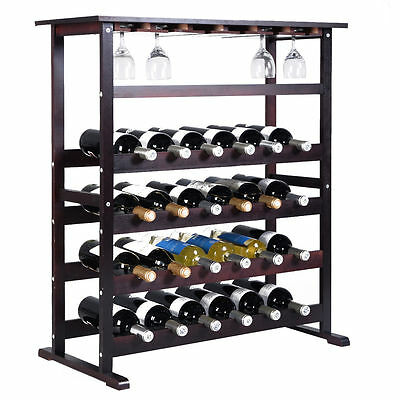 24 Bottle Wood Wine Rack Holder Storage Shelf Display w/ Glass Hanger