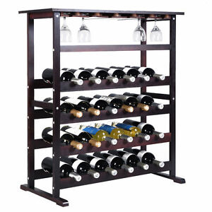 New 24 Bottle Wood Wine Rack Holder Storage Shelf Display W Glass Hanger