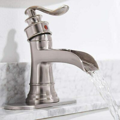 Brushed Nickel Waterfall Bathroom Faucet with Drain