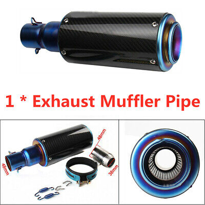 1PCS 60MM Motorcycle Carbon Fiber  Exhaust Muffler Pipe Roasted Blue Silencer