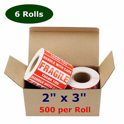 6 Roll 500roll 2x3 Fragile Stickers Handle With Care Shipping Mailing Label Red