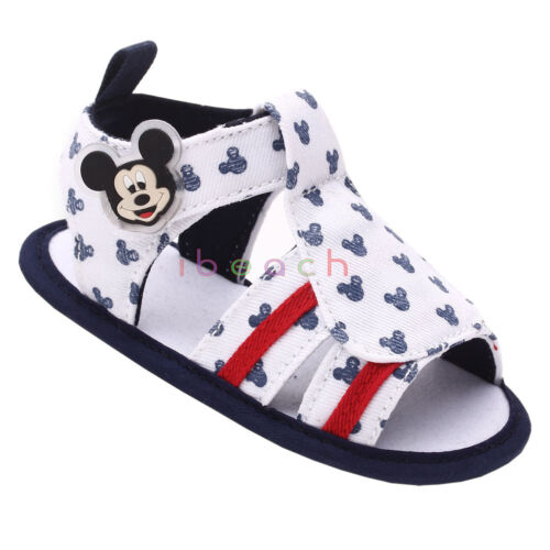 Baby Boy Gril Mickey Mouse White Crib Shoes Summer Sandals Newborn to 18 Months