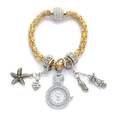 DESIGNER AUSTRIAN CRYSTAL MADE WITH LOVE CHARM BRACELET  WATCH OWL PEANUT HEART
