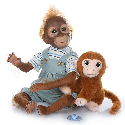 "21"" Reborn Monkey Dolls Soft Touch Silicone Babies Newborn Ape Baby Dolls Toys"