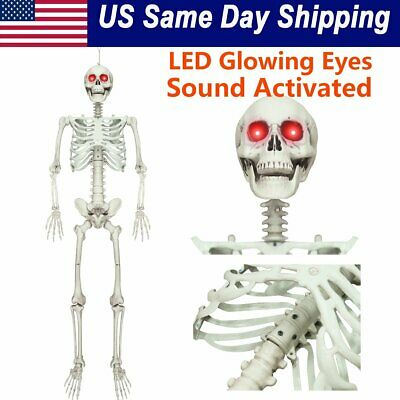 Life Size Skeleton Prop (Halloween Posable Life Size Prop Skull Skeleton Sound Activated LED Glowing)