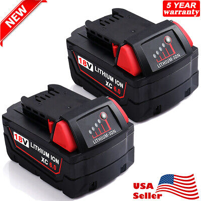 (2) For MILWAUKEE 18V 18 Volt Lithium Ion M18 48-11-1850 XC 5.0 AH Battery