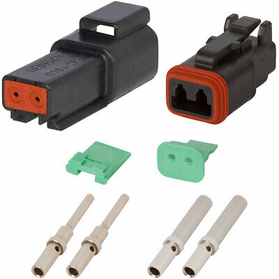 Dt Enhanced Seal 2 Pin Black Connector Kit W 20-16 Awg Solid Contacts