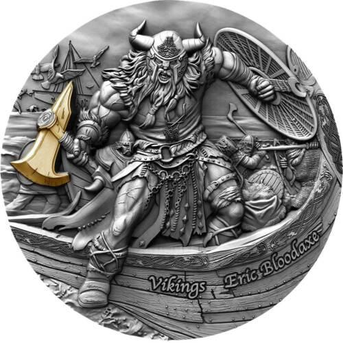 2020-Niue $5 1st in VIKINGS series, Eric Bloodaxe 2oz .999 silver w/ gilding
