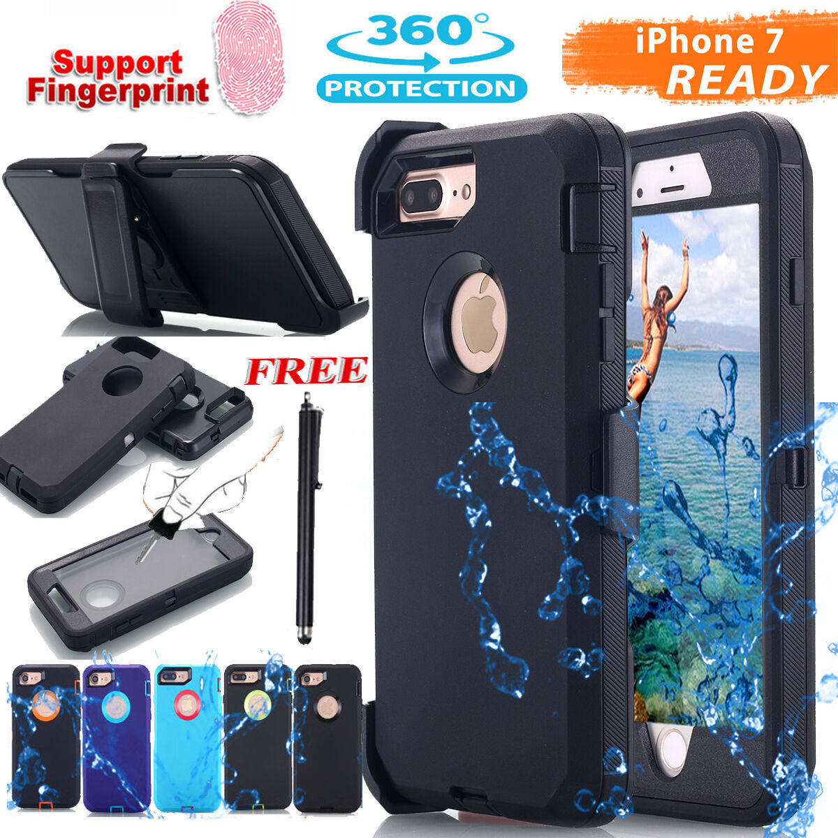 For iPhone X 7/8 Plus Shockproof Protective Case Heavy Duty