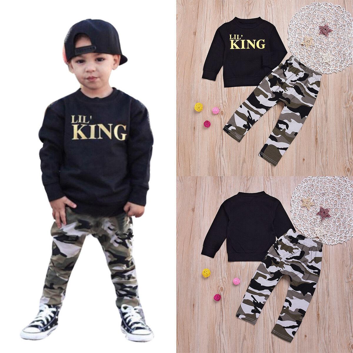 Pants 2PCS Set Toddler Kids Baby Boys Girls Outfits Clothes Camo T-shirt Tops