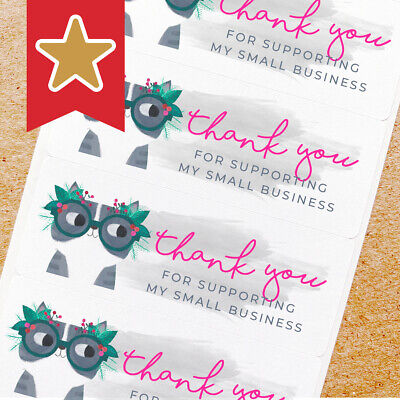 Thank You Labels Stickers For Online Shop Sellers 100ct - Cute Cat With Glasses