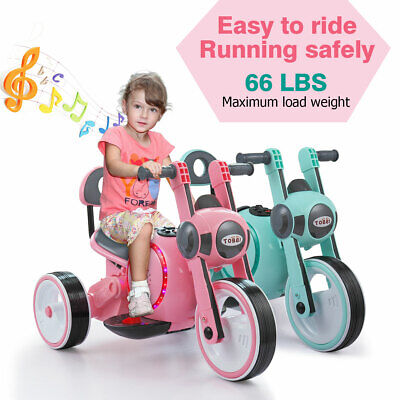 Electric Motorcycle Kids Ride On 6V Battery Powered 3-Wheel Toy Car Pink & Blue
