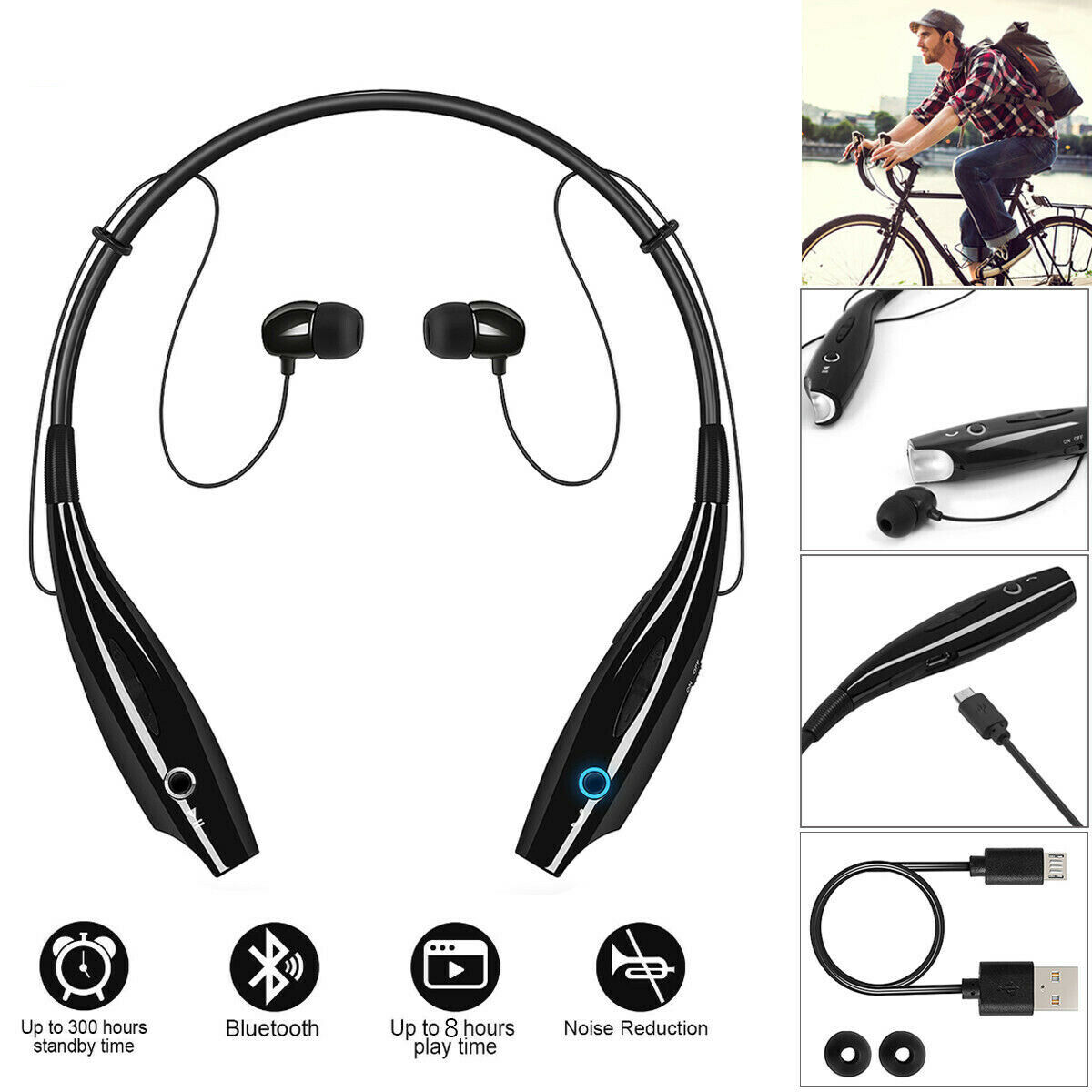 Bluetooth Wireless Headphones Headsets Earphone Neckband Earbuds with Mic USA Consumer Electronics
